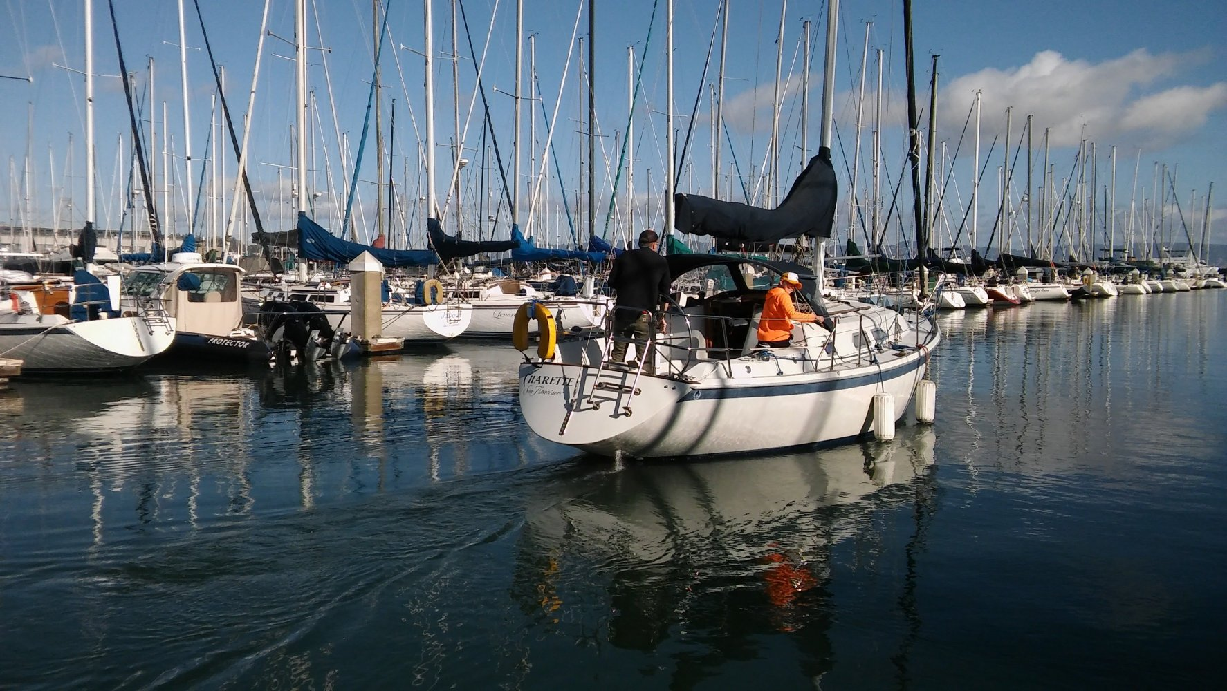 Sailing to Sausalito from San Francisco.